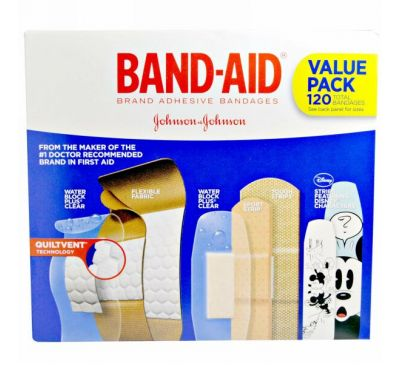 Band Aid, Пластыри, перевязки, экономичная упаковка, 5 пачек, 120 штук