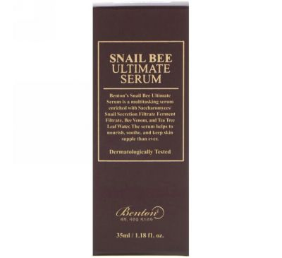 Benton, Пчелиный и улиточная сыворотка, 1,18 ж. унц. (35 мл)