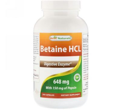 Best Naturals, Betaine HCL, 648 mg , 250 Capsules