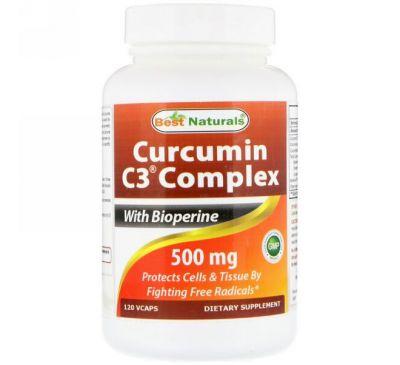 Best Naturals, Curcumin C3 Complex with Bioperine, 500 mg , 120 VCaps