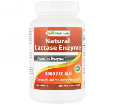 Best Naturals, Natural Lactase Enzyme, 3000 FCC ALU, 180 Tablets