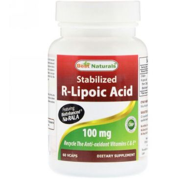 Best Naturals, Stabilized R-Lipoic Acid, 100 mg , 60 VCaps