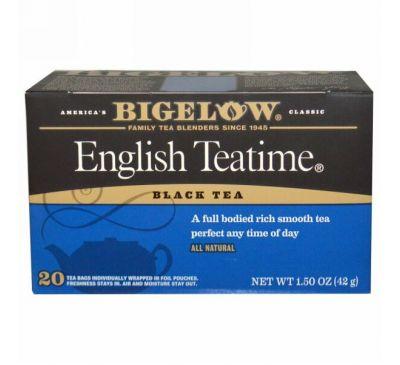 Bigelow, Английское чаепитие, 20 чайных пакетиков, 1,5 унции (42 г)