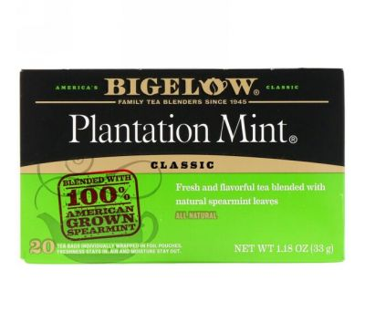 Bigelow, Classic, Plantation Mint, 20 Tea Bags, 1.18 oz (33 g)