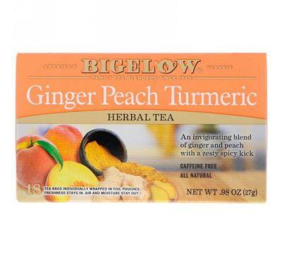 Bigelow, Herbal Tea, Ginger Peach Turmeric, 18 Tea Bags, .98 oz (27 g)
