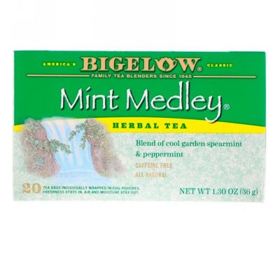 Bigelow, Herbal Tea, Mint Medley, Caffeine Free, 20 Tea Bags, 1.30 oz (36 g)