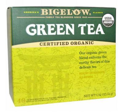Bigelow, Органический зеленый чай, 40 пакетиков, 1.82 унций (51 мл)