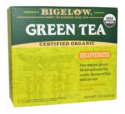 Bigelow, Органический зеленый чай, без кофеина, 40 пакетиков, 1.73 унций (49 мл)