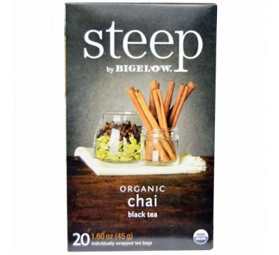 Bigelow, Steep, Organic  Chai Black Tea, 20 Tea Bags, 1.60 oz (45 g)