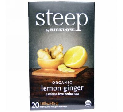 Bigelow, Steep, Organic Lemon Ginger, Caffeine Free Herbal Tea, 20 Bags, 1.60 oz (45 g)