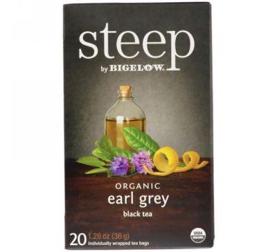 Bigelow, Стип, органический черный чай эрл грей, 20 пакетиков, 1,28 унции (36 г)