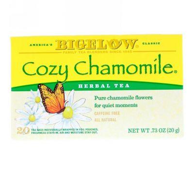 Bigelow, Травяной чай «Приятная ромашка», без кофеина, 20 чайных пакетиков, по, 0,73 унции (20 г) каждый