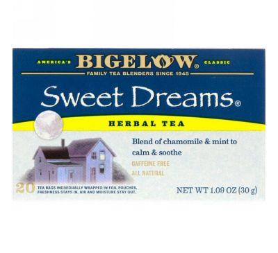 Bigelow, Травяной чай «Сладкие сны», без кофеина, 20 чайных пакетиков, 1,09 унц. (30 г)