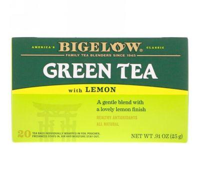 Bigelow, Зеленый чай с лимоном, 20 чайных пакетиков, 0,91 унции (25 г)