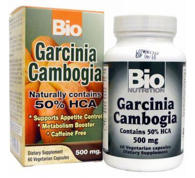 Bio Nutrition, Гарциния камбоджийская, 500 мг, 60 капсул на растительной основе