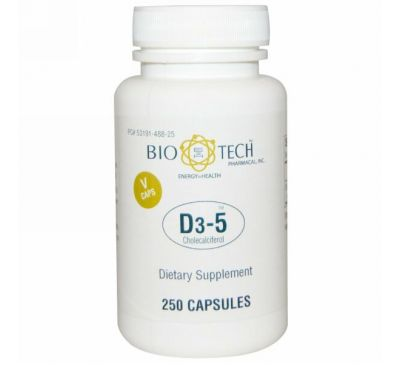 Bio Tech Pharmacal, Inc, D3-5 холекальциферол, 250 вегетарианских капсул