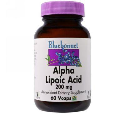 Bluebonnet Nutrition, Альфа-липоевая кислота, 200 мг, 60 капсул в растительной оболочке