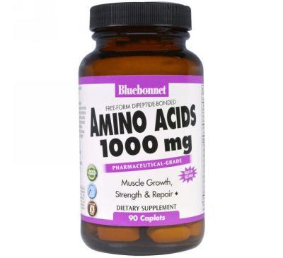 Bluebonnet Nutrition, Аминокислоты, 1000 мг, 90 капсуловидных таблеток