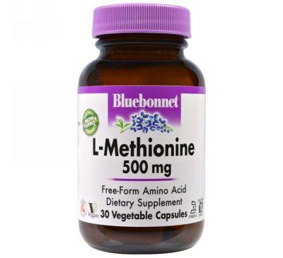 Bluebonnet Nutrition, L-метионин, 500 мг, 30 капсул в растительной оболочке