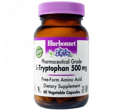 Bluebonnet Nutrition, L-триптофан, 500 мг, 60 капсул в растительной оболочке