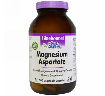 Bluebonnet Nutrition, Магния аспартат, 200 растительных капсул