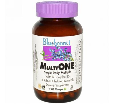 Bluebonnet Nutrition, Мультивитамины Multi One, для ежедневного употребления, 120 растительных капсул