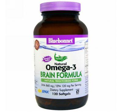 Bluebonnet Nutrition, Натуральный состав для мозга с омега-3, 120 мягких капсул
