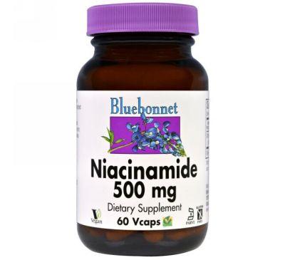 Bluebonnet Nutrition, Ниацинамид, 500 мг, 60 капсул