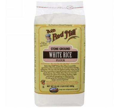 Bob's Red Mill, Белая рисовая мука жернового помола, 24 унции (680 г)