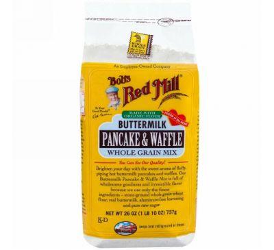 Bob's Red Mill, Блины и вафли из пахты, смесь из цельных зерен, 26 унций (1 фунт 10 унций) 737 г