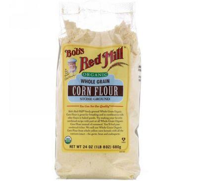 Bob's Red Mill, Органическая цельнозерновая кукурузная мука, 24 унции (680 г)