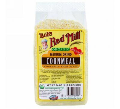 Bob's Red Mill, Органическая кукурузная крупа среднего помола,  24 унции (680 г)