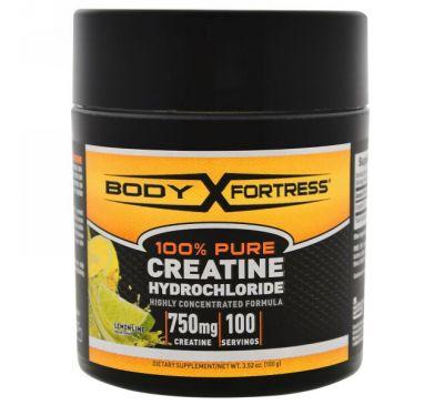 Body Fortress, 100% чистый креатин HCL, лимон-лайм, 3.52 унц. (100 г)