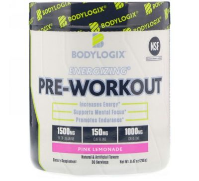 Bodylogix, Активирующий предтренировочный комплекс, розовый лимонад, 8,47 унц. (240 г)