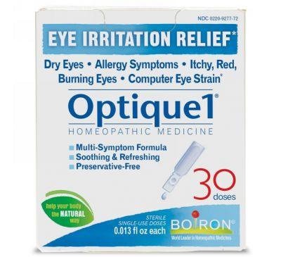 Boiron, Optique 1, средство от раздражения глаз, 30 доз, 4,5 мл каждая