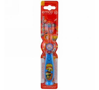 Brush Buddies, Зубная щетка с эмодзи, с таймером, мягкая, 1 зубная щетка