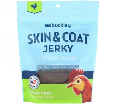 Buckley, Skin & Coat Jerky, Chicken, 5 oz (141.7 g)