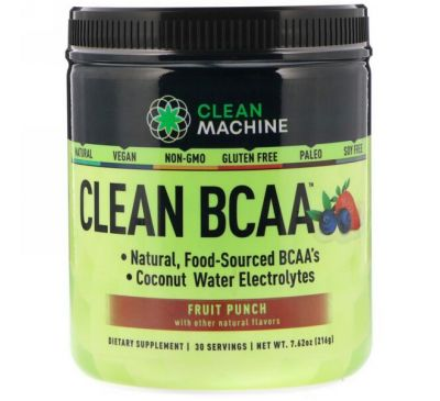 CLEAN MACHINE, Clean BCAA, Fruit Punch, 7.62 oz (216 g)