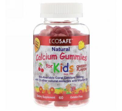 CORAL LLC, Жевательные конфеты с кальцием для детей, со вкусом вишни, 60 жевательных таблеток