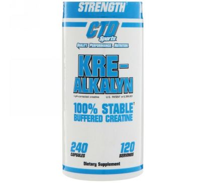 CTD Sports, Kre-Alkalyn забуференный креатин, 240 капсул