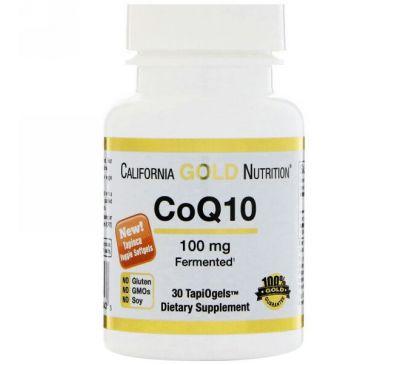 California Gold Nutrition, CoQ10, 100 мг, 30 вегетарианских мягких таблеток