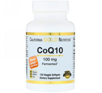 California Gold Nutrition, Коэнзим Q10, 100 мг, 120 Овощные мягкие гели