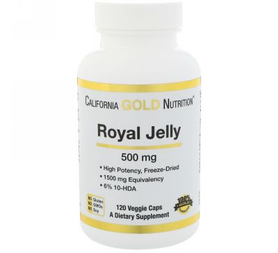California Gold Nutrition, Маточное молочко, 500 мг, 120 капсул на растительной основе