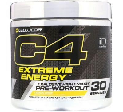Cellucor, C4 Extreme Energy, предтренировочный комплекс, лимонный леденец, 9,52 унц. (270 г)