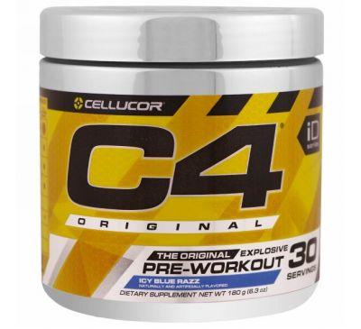 Cellucor, C4 Original для взрывной тренировки, перед тренировкой, голубой лед, 6,3 унций (180 г)
