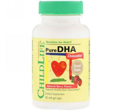 ChildLife, Чистая ДГК, вкус натуральных ягод, 90 жевательных гелевых капсул