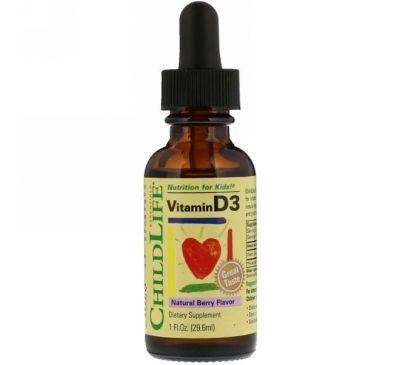ChildLife, Витамин D3, вкус натуральных ягод, 29,6 мл