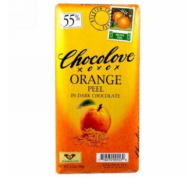 Chocolove, Апельсиновая кожура в черном шоколаде, 3.2 унции (90 г.)