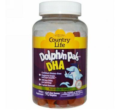 Country Life, Dolphin Pals, ДГК (докозагексаеновая кислота), 3 отличных вкуса, 90 кислых жевательных дельфинчиков