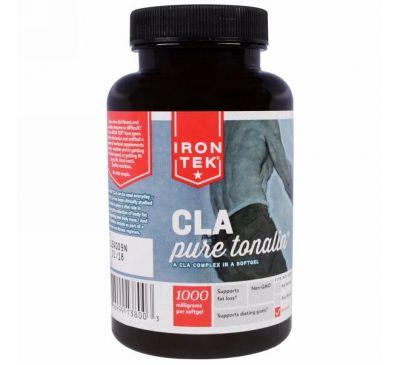 Country Life, Iron-Tek, комплекс чистого тоналина и КЛК (конъюгированной линолевой кислоты), 1000 мг, 90 мягких капсул